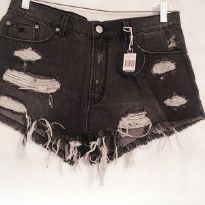 Res Denim Shorts - Res Denim Distressed High Waisted Shorts